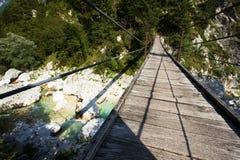 Висячий мост на реке Soca Стоковое Изображение
