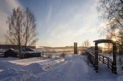 Висячий мост над рекой в зиме Стоковое Изображение