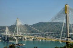 Висячий мост окрашивает Kau в Гонконге стоковое фото rf
