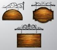 Висящ, вектор деревянной доски, деревянный объект для текста иллюстрация вектора