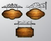 Висящ, вектор деревянной доски, деревянный объект для текста бесплатная иллюстрация