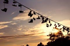 вися ботинки Стоковое Фото