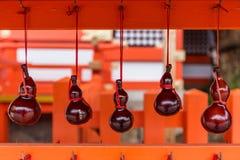 Вися высушенные тыквы бутылки на святыне США в Oita, Японии Стоковое фото RF