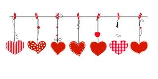 Вися красный вектор сердец день карточки приветствуя счастливые valentines Стоковые Фотографии RF