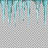 Вися просвечивающие сосульки в голубых цветах на прозрачной предпосылке Стоковые Фотографии RF