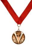 вися тесемка красного цвета медали Стоковые Изображения RF