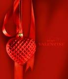вися тесемка красного цвета сердца Стоковые Изображения RF
