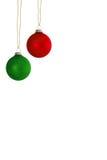 2 вися шарика рождественской елки Стоковое Изображение RF