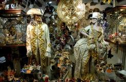 Витрина маск и костюмов в Murano в муниципалитете Венеции в венето (Италия) Стоковые Фото