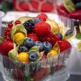 Витрина с набором готовым для того чтобы пойти с разными видами очень вкусных ягод Поленика, клубника, голубика, физалис стоковые фотографии rf