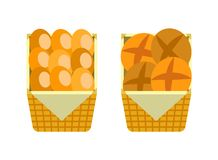 Витрина хлеба и плюшек рынка магазина пекарни иллюстрация вектора