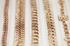 Витрины, золото, цепь, конец-вверх Стоковые Фотографии RF