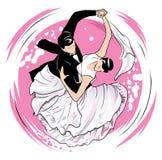 Вихрь вальса на розовой предпосылке иллюстрация штока