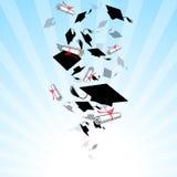 Вихрь студент-выпускников крышек в небе иллюстрация штока