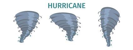 Вихрь урагана, набор вектора свирли торнадо плоский иллюстрация штока