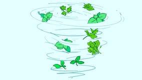 Вихрь шаржа красивый с зелеными цветами варить иллюстрация штока