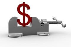 Вице сжимая знак доллара Стоковая Фотография