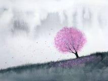 Вишневый цвет деревьев пинка ландшафта акварели или лист Сакуры падая к ветру в холме горы с полем луга традиционный иллюстрация вектора
