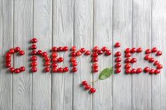 ВИШНИ слова сделанные сладостных ягод Стоковое Изображение