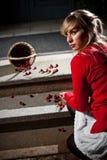 вишни упали свеже ее женщина Стоковые Изображения RF