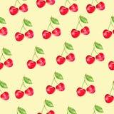 Вишня акварели, орнамент с ягодой, темой природы, безшовной картиной вектора, краской акварели для подарочной коробки, обоев иллюстрация вектора