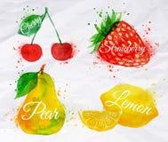Вишня акварели плодоовощ, лимон, клубника, груша Стоковые Изображения RF