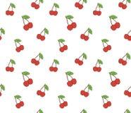 Вишня Безшовная картина с красными ягодами сладостной вишни на белизне Стоковые Изображения