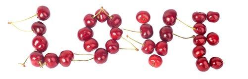 Вишня, много вишни, красный цвет, влюбленность слова Стоковое Изображение