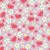 Вишня цветет точка и сердца польки в PA seamline иллюстрация вектора