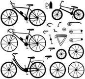 4 вида велосипедов: велосипед горы (или вездеходного), велосипед дороги, велосипед города и bmx велосипед Аксессуары велосипеда Стоковые Изображения RF