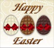 3 вида пасхальных яя шоколада Стоковое Изображение RF