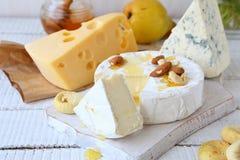 3 вида сыра и меда на белой предпосылке Стоковая Фотография