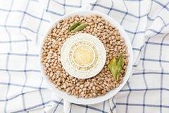 3 вида сырцовых риса и фасолей Стоковая Фотография RF