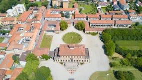 Вилла Bagatti Valsecchi, вилла, вид с воздуха, восемнадцатый век, итальянская вилла, Varedo, Монца Brianza, Ломбардия Италия Стоковое фото RF