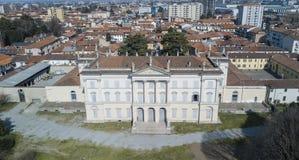 Вилла Cusani Tittoni Traversi, панорамный взгляд, вид с воздуха, Desio, Монца и Brianza, Италия стоковая фотография