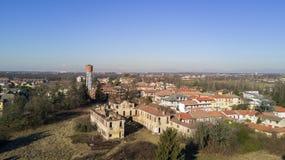 Вилла Medolago Rasini, Limbiate 18-ое января 2017, вид с воздуха Стоковое Фото