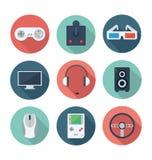 Видеоигры и комплект значка развлечений плоский Стоковые Фотографии RF