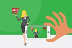 Видео в реальном времени и онлайн концепция маркетинга иллюстрация штока