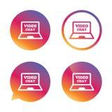 Видео- значок знака компьтер-книжки болтовни Связь сети иллюстрация вектора