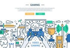 Видео- игра - линия знамя вебсайта дизайна иллюстрация вектора