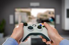 Видео игры игры игры на ТВ или мониторе Концепция Gamer Стоковое фото RF