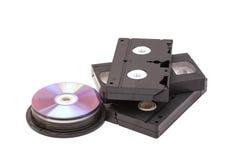 Видео- кассеты и диски КОМПАКТНОГО ДИСКА Стоковая Фотография
