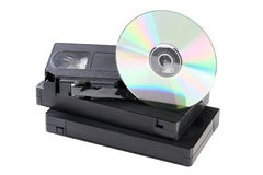 Видео- кассеты и диск КОМПАКТНОГО ДИСКА Стоковое Изображение