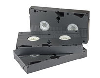 Видео- кассеты на белизне Стоковое Изображение