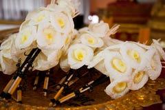 Вид деревянного цветка, который нужно поместить на месте кремации Стоковые Изображения