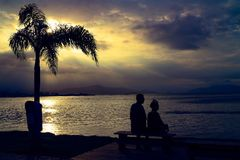 Видеть моменты захода солнца Стоковая Фотография RF