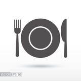 Вилка блюда и нож - плоский значок иллюстрация вектора