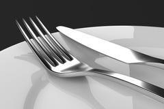 Вилка и нож с плитами бесплатная иллюстрация