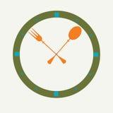 Вилка и ложка как часы, значок часов иллюстрация вектора