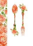 Вилка и ложка Силуэт роз, акварель Стоковая Фотография RF